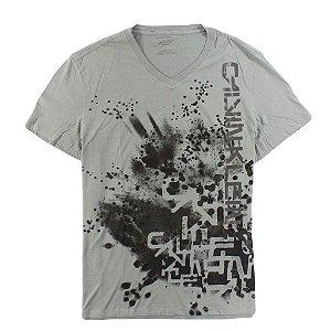 Camiseta Calvin Klein Masculina Abstract V-Neck Tee - Grey