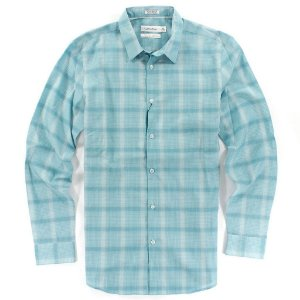 Camisa Calvin Klein Masculina Body Fit Plaid Shirt - Turquoise