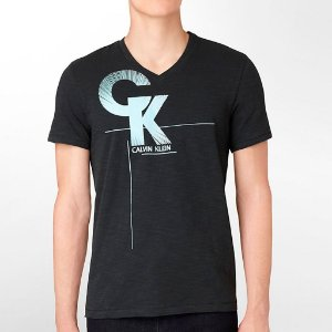 Camiseta Calvin Klein Masculina Body Slim Fit Print V-Neck Tee - Black