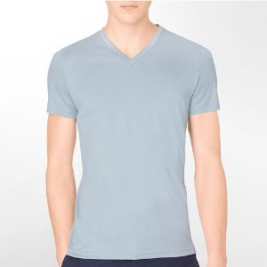 Camiseta Calvin Klein Masculina Body Slim Fit Ribbed Detail Tee - Silver Blue