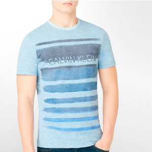 Camiseta Calvin Klein Masculina Brushstroke Tee - Light Blue