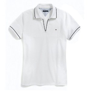 Polo Tommy Hilfiger Feminina Small Logo Piquet  - White