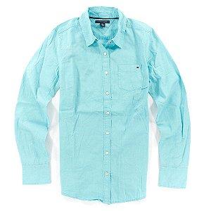 Camisa Tommy Hilfiger Feminina Solid - Turquoise