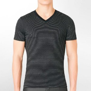 Camiseta Calvin Klein Masculina CK Striped V-Neck Tee - Black