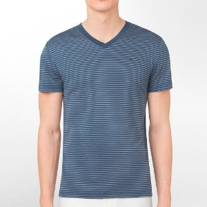 Camiseta Calvin Klein Masculina CK Striped V-Neck Tee - Steel Blue