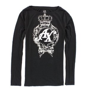 Manga Longa Armani Exchange Feminina Crown AX Tee - Black