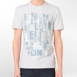 Camiseta Calvin Klein Masculina Classic Fit Abstract Collage Slub Tee - Light Grey