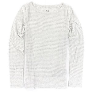 Manga Longa Armani Exchange Feminina Long Sleeve Scoopneck Striped Tee - White