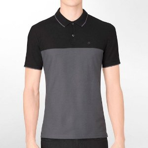 Polo Calvin Klein Masculina Colorblock Polo - Black and Grey