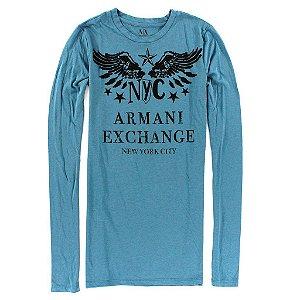 Manga Longa Armani Exchange Feminina NYC AX Tee - Petroleo