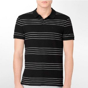 Polo Calvin Klein Masculina Four Stripes Single Polo - Black