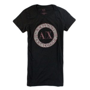 Camiseta Armani Exchange Feminina Shiny Circle Tee - Black