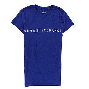 Camiseta Armani Exchange Feminina Shiny Crew Neck Tee - Electric Blue