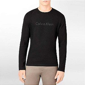 Manga Longa Calvin Klein Masculina Long Sleeve Logo Tee - Black