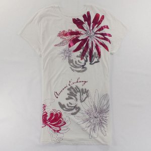Camiseta Armani Exchange Feminina Shiny Flowers Crew Neck Tee - White