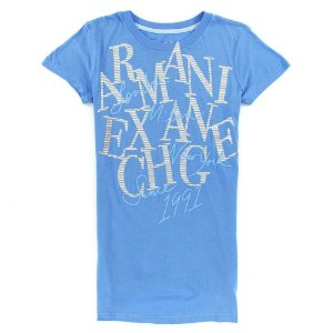 Camiseta Armani Exchange Feminina Travel World Tee - Light Blue