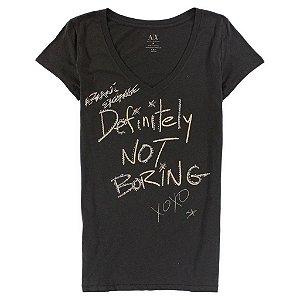 Camiseta Armani Exchange Feminina Xoxo Not Boring Tee - Grey Green