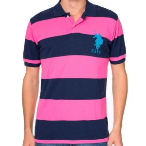 Polo U.S. Polo Assn. Masculina Big Logo Stripe Piquet - Navy and Pink