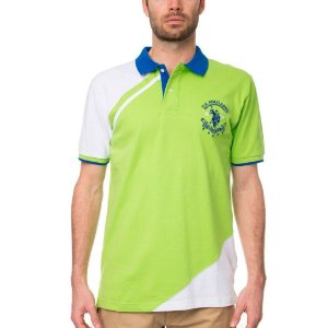 Polo U.S. Polo Assn. Masculina Chest Color Block Piquet -  Green