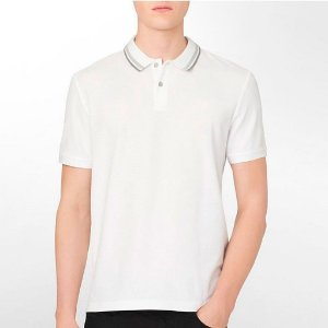 Polo Calvin Klein Masculina Striped Collar Polo - White