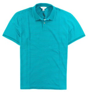 Polo Calvin Klein Masculina Striped Piquet Polo - Acqua