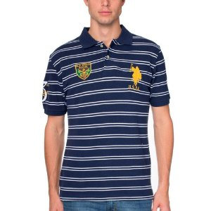 Polo U.S. Polo Assn. Masculina Chest Emblem Striped Piquet - Navy