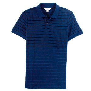 Polo Calvin Klein Masculina Striped Piquet Polo - Navy