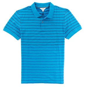 Polo Calvin Klein Masculina Striped Piquet Polo - Turquoise