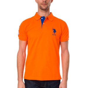 Polo U.S. Polo Assn. Masculina Stripe Collar Piquet - Orange