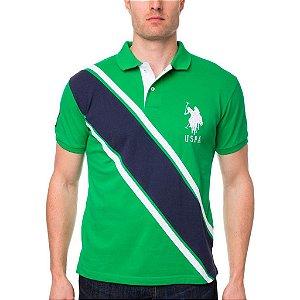Polo U.S. Polo Assn. Masculina Stripe Piquet Piquet - Green