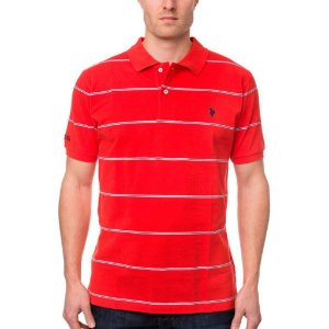 Polo U.S. Polo Assn. Masculina Stripe Piquet  - Red