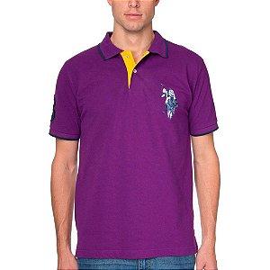 Polo U.S. Polo Assn. Masculina Tonal Logo Piquet - Purple