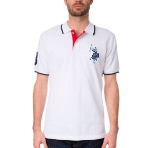 Polo U.S. Polo Assn. Masculina Tonal Logo Piquet - White