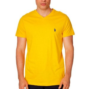 Camiseta U.S. Polo Assn. Masculina V Neck - Egg Yolk