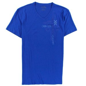 Camiseta Calvin Klein Masculina Vertical Graphic V Neck Tee - Blue