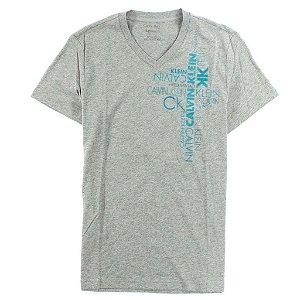 Camiseta Calvin Klein Masculina Vertical Graphic V Neck Tee - Grey