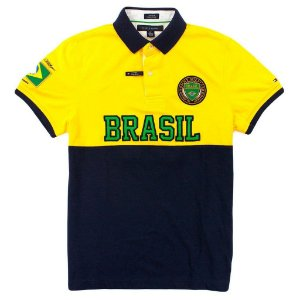 Polo Tommy Hilfiger Masculina Brasil World Edition Piquet - Navy and Yellow
