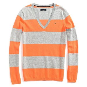 Sweater Tommy Hilfiger Feminina Striped - Grey and Orange