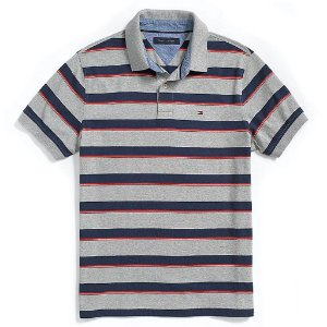 Polo Tommy Hilfiger Masculina Custom Fit Jersey - Grey