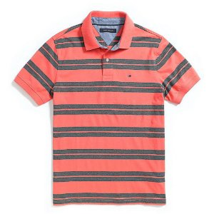 Polo Tommy Hilfiger Masculina Custom Fit Jersey - Light Red