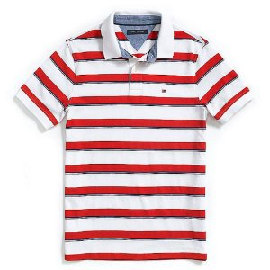 Polo Tommy Hilfiger Masculina Custom Fit Jersey - Red