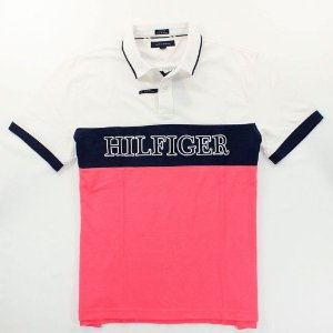 Polo Tommy Hilfiger Masculina Custom Fit Pieced Piquet - White and Pink