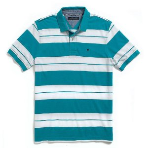 Polo Tommy Hilfiger Masculina Custom Fit Piqué - Turquoise