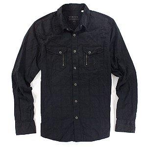 Camisa Guess Masculina Anthony Western Dobby - Jet Black