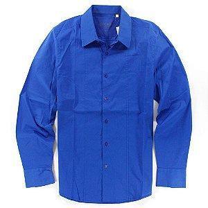 Camisa Guess Masculina Antonio Plain Poplin - Blue