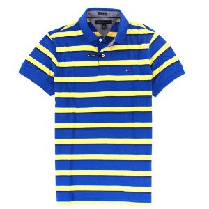 Polo Tommy Hilfiger Masculina Custom Fit Stripe - Blue & Yellow