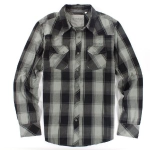 Camisa Guess Masculina Associate Western Plaid - Jet Black