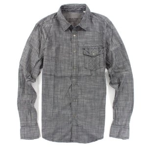 Camisa Guess Masculina Banker Slub Poplin - Tuxedo Grey