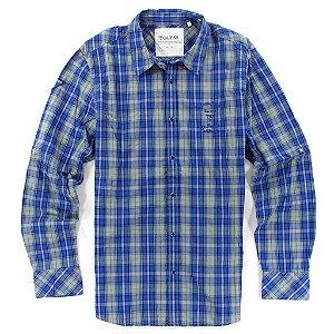 Camisa Guess Masculina Brody Plain Plaid -  Wild Blue