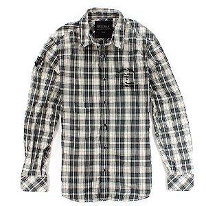 Camisa Guess Masculina Brody Plain Plaid - Jet Black
